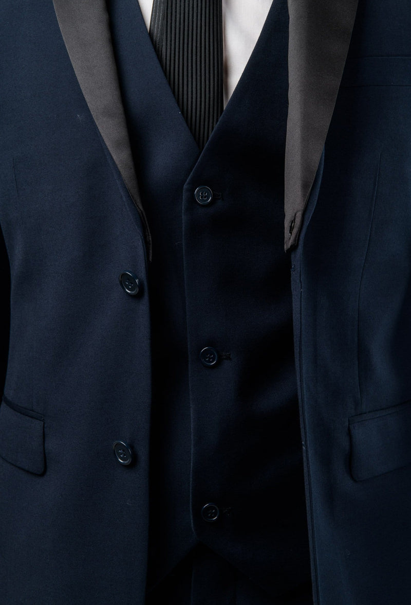 a close up view of the satin lapel detailing and vest buttons on the Aston slim fit moores vest in navy A049301V-NL