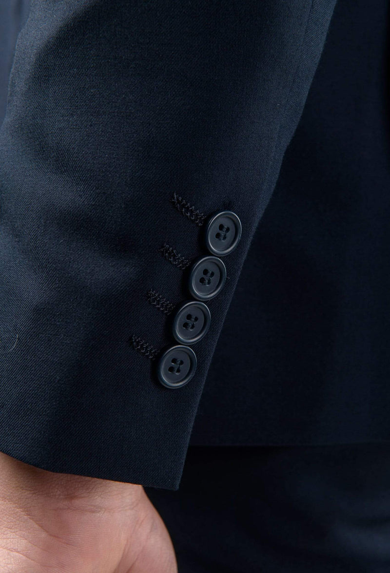 a close up view of the sleeve detailing on the aston slim fit moores suit jacket in navy A049301S-NL