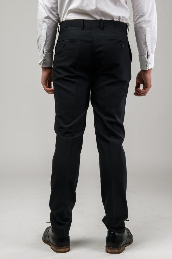 a reverse view of the Aston slim fit moores trouser in black A019301T-NL