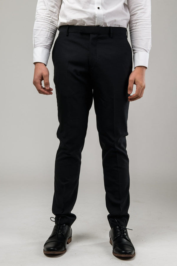 a front view of the Aston slim fit moores trouser in black A019301T-NL