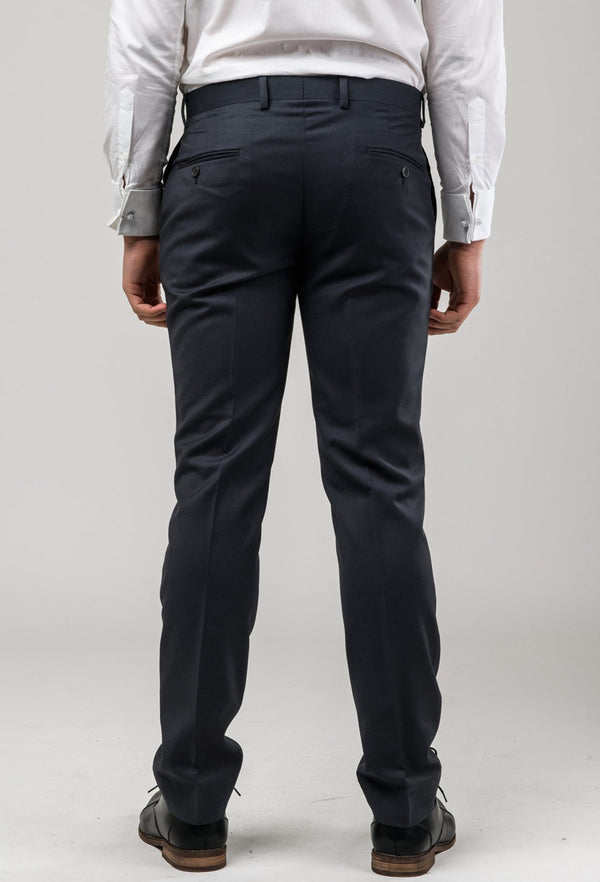 rear view of the Aston slim fit colton trouser in charcoal pure wool A0220172T including the two rear hip pockets