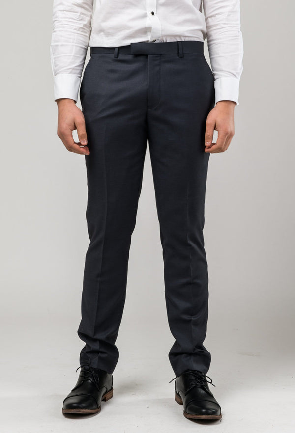 front view of the Aston slim fit colton trouser in charcoal pure wool A0220172T