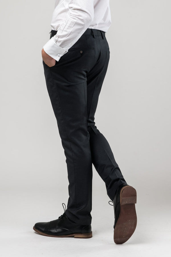 a reverse view of the Aston slim fit moores trouser in charcoal A029301T-NL including the rear hip pocket detail
