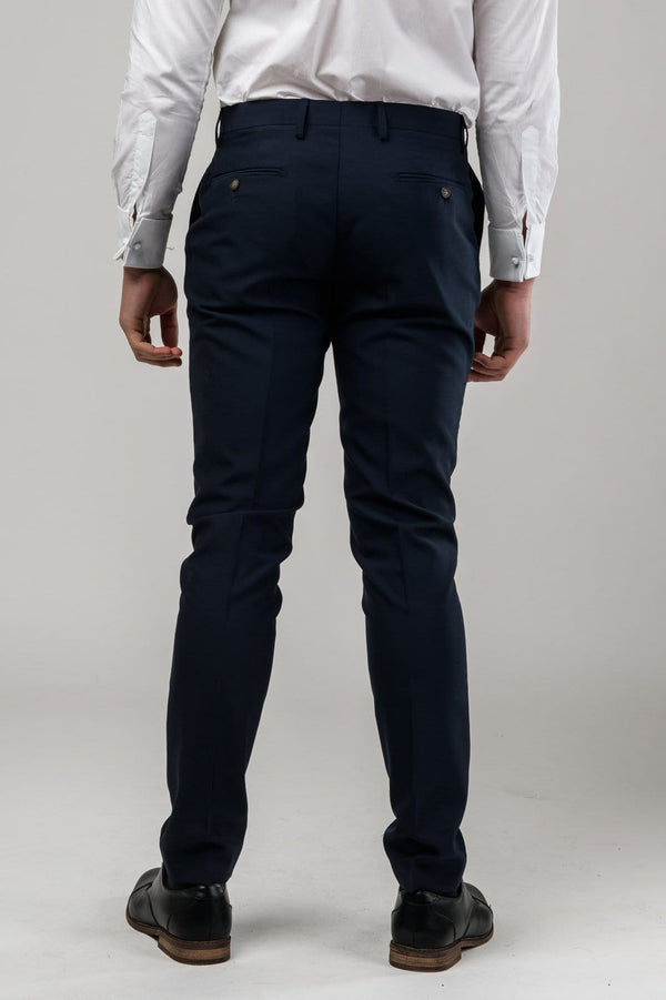 A reverse view of the Aston slim fit moores trouser in navy A049301T-NL