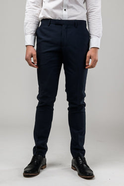 A front on view of the Aston slim fit moores trouser in navy A049301T-NL