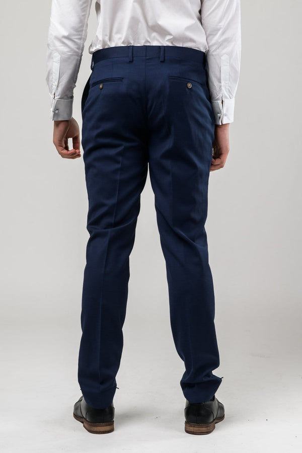 a reverse view of the Aston slim fit moores trouser in royal blue A059301T-NL