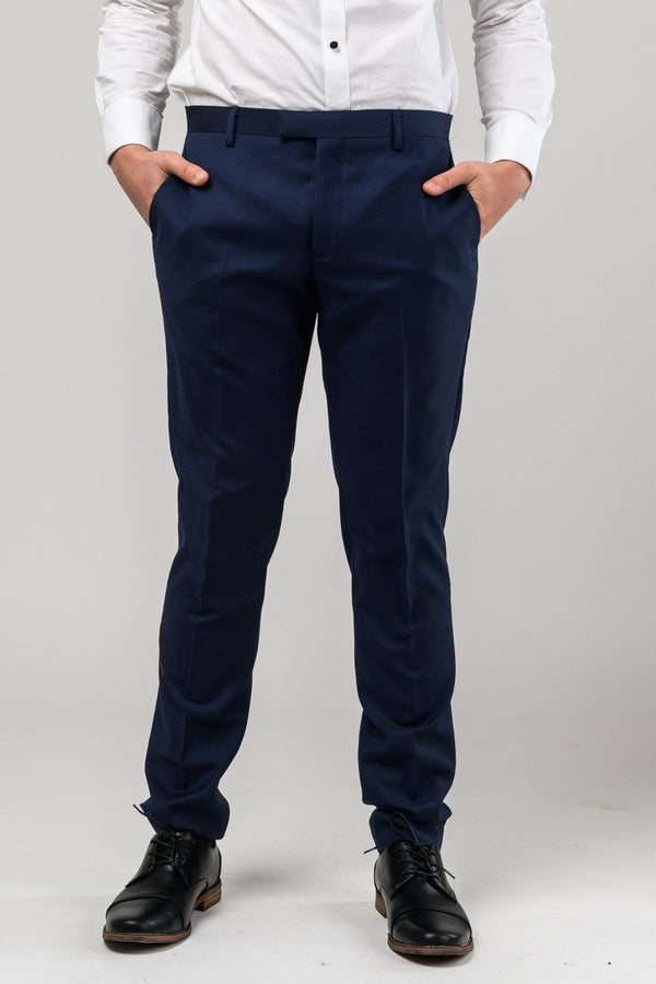 A front on view of the Aston slim fit moores trouser in royal blue A059301T-NL