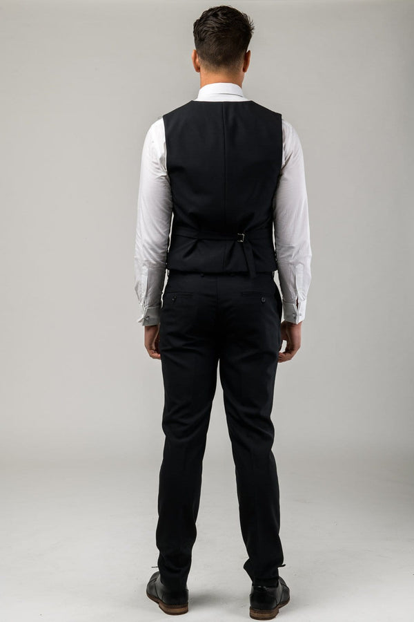 A reverse view of the Aston slim fit moores vest in black A019301V-NL