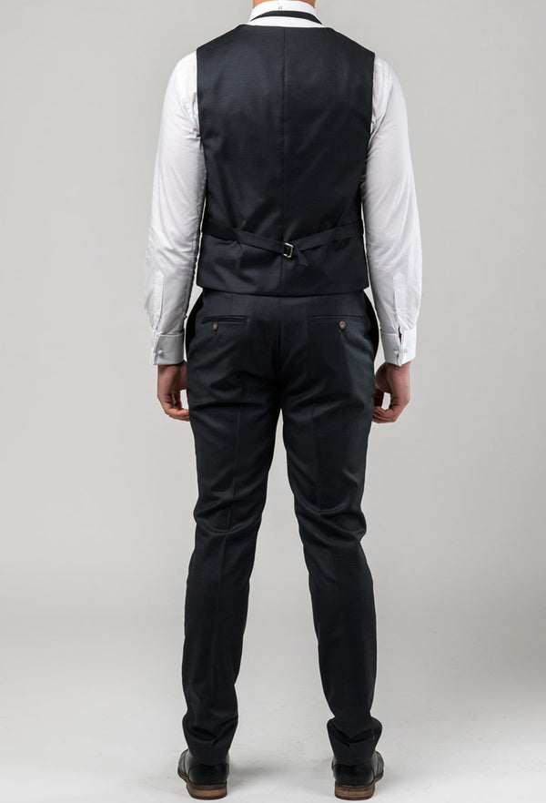 A reverse view of the Aston slim fit moores vest in charcoal A029301V-NL