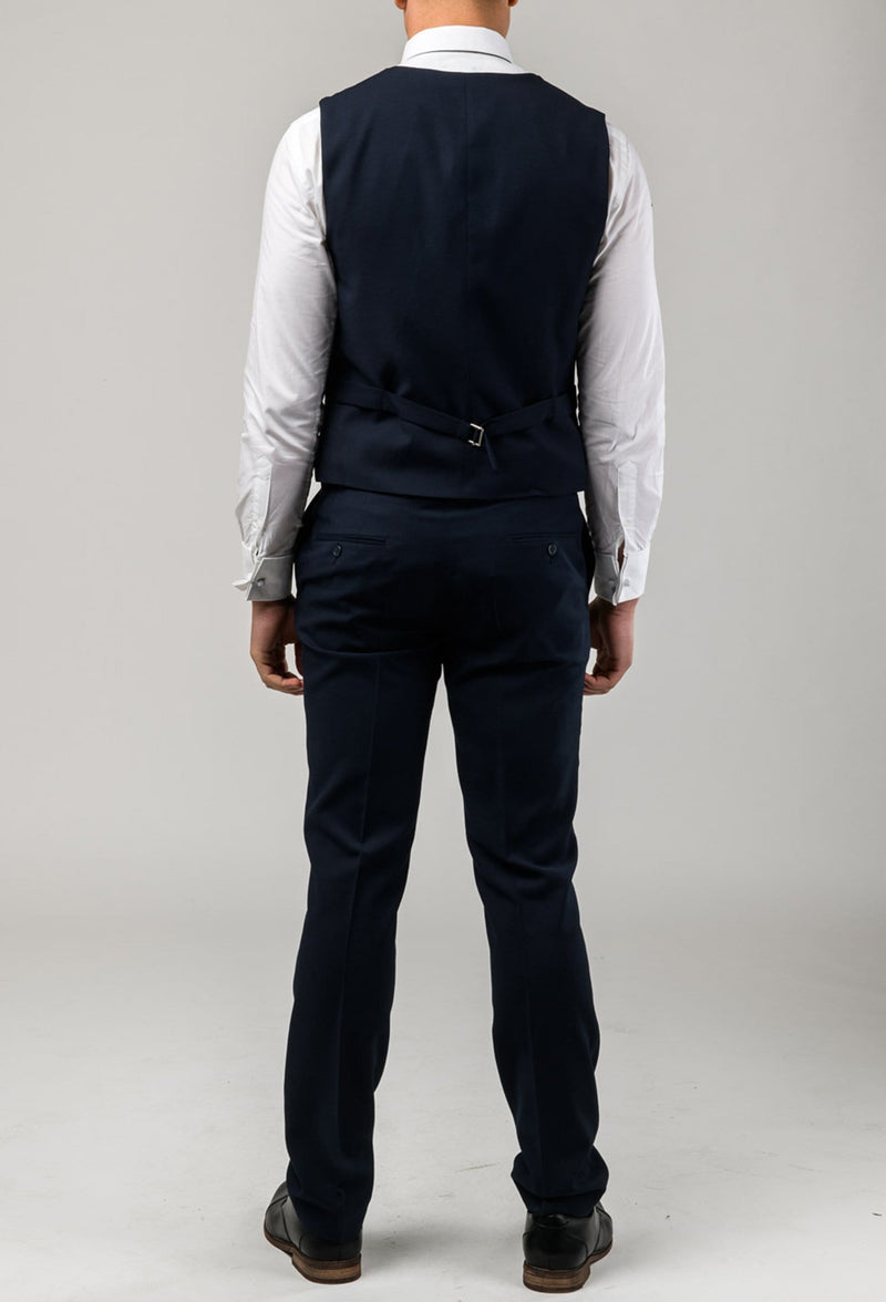 a reverse view showing the tab adjuster details on the Aston slim fit moores vest in navy A049301V-NL