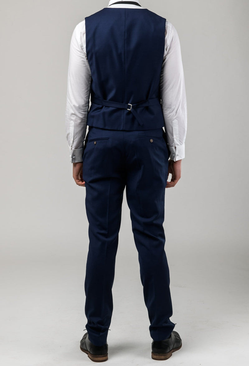 a reverse view of the Aston slim fit moores vest in royal blue A059301V-NL including the rear tab adjusters