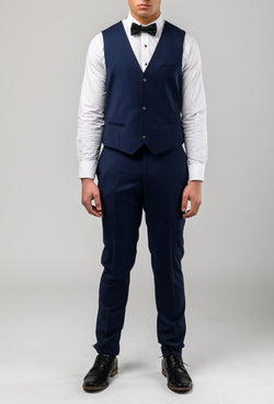 a front on view of the Aston slim fit moores vest in royal blue A059301V-NL