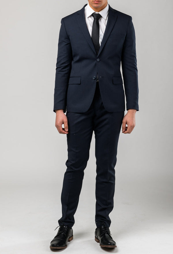 a front view of a model wearing the Aston slim fit pinstripe morris suit in black pinstripe A013816S