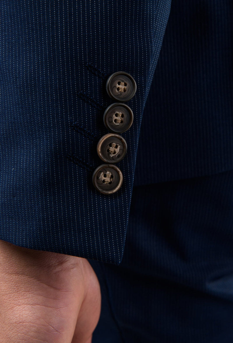 a close up of sleeve detailing on the Aston slim fit morris suit jacket in navy pinstripe A043816S