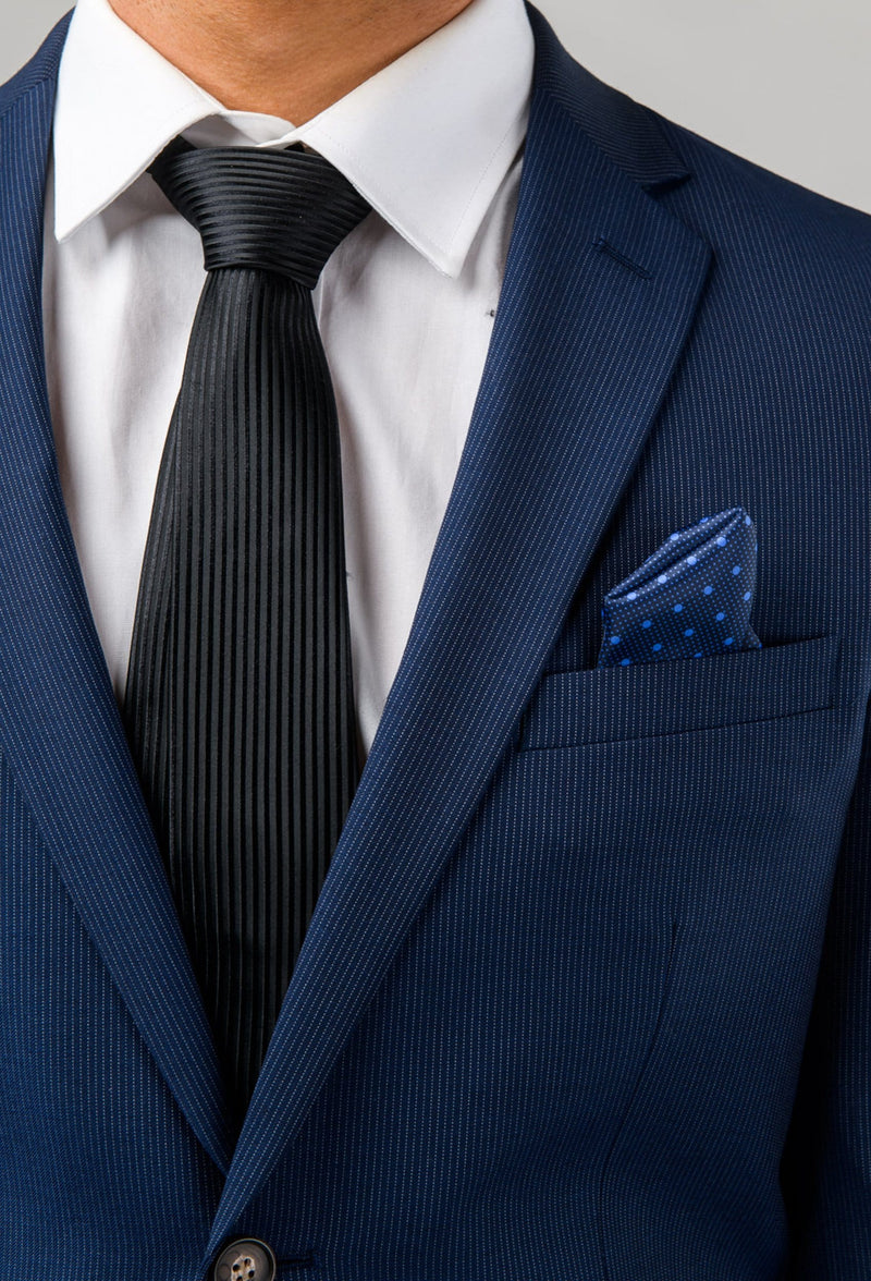a close up view of the lapel detail on the Aston slim fit morris suit in navy pinstripe A043816S