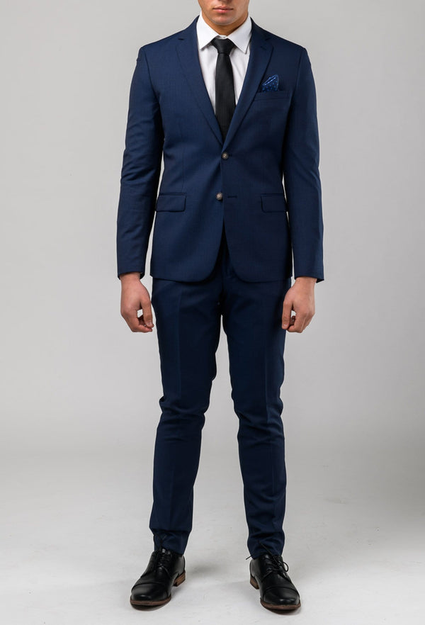 a front view of the Aston slim fit morris trouser in navy pinstripe A043816T styled with the Morris suit jacket