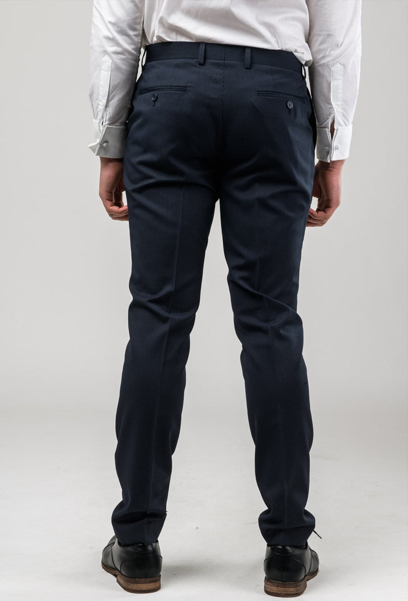 a reverse view of the Aston slim fit morris trouser in black pinstripe A013816T