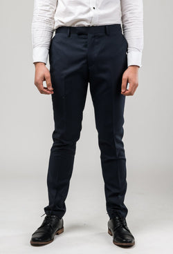 a front on view of the Aston slim fit morris trouser in black pinstripe A013816T