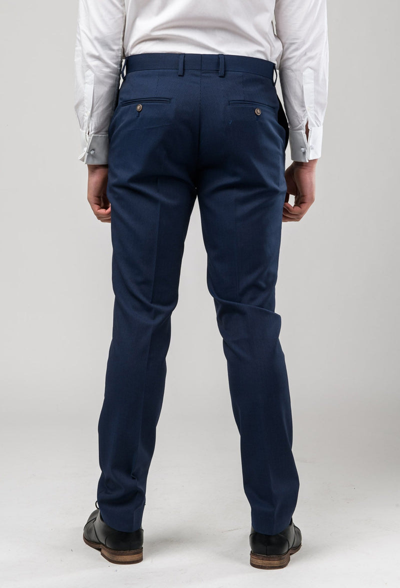 a reverse view of the Aston slim fit morris trouser in navy pinstripe A043816T