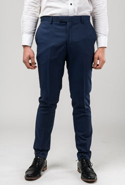 a front on view of the Aston slim fit morris trouser in navy pinstripe A043816T
