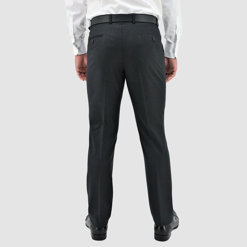Boston slim fit lyon trouser in charcoal pure wool  showing the back pockets
