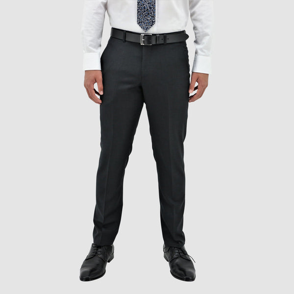 Boston slim fit lyon trouser in charcoal pure wool fron tview