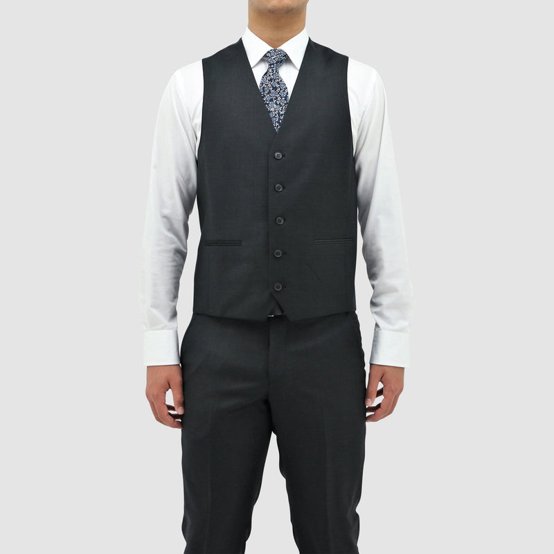 a front view showing the five buttons on the boston classic fit ryan vest in charcoal B106-02