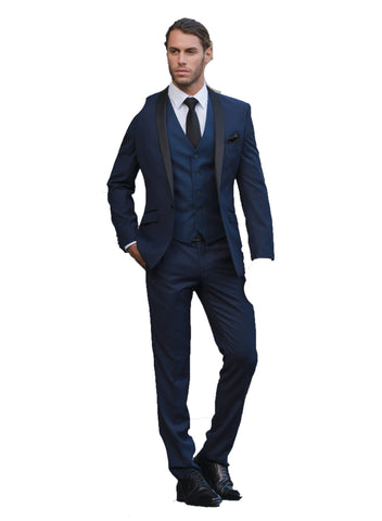 Christian Brookes classic fit bond suit in deep blue
