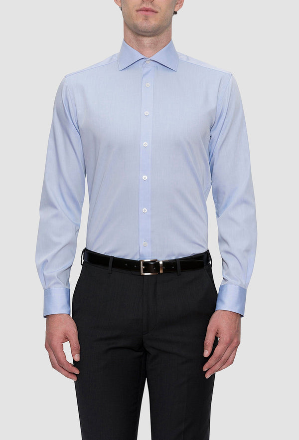 Cambridge classic fit preston shirt in sky pure cotton