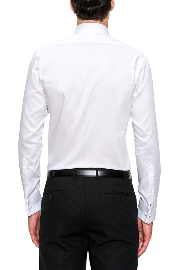 A reverse view of the Cambridge classic fit preston shirt in white pure cotton FCD050