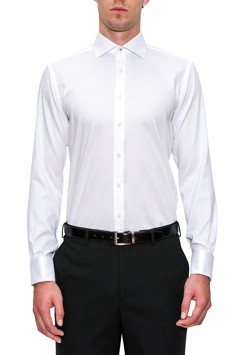 a front view of the Cambridge classic fit preston shirt in white pure cotton FCD050