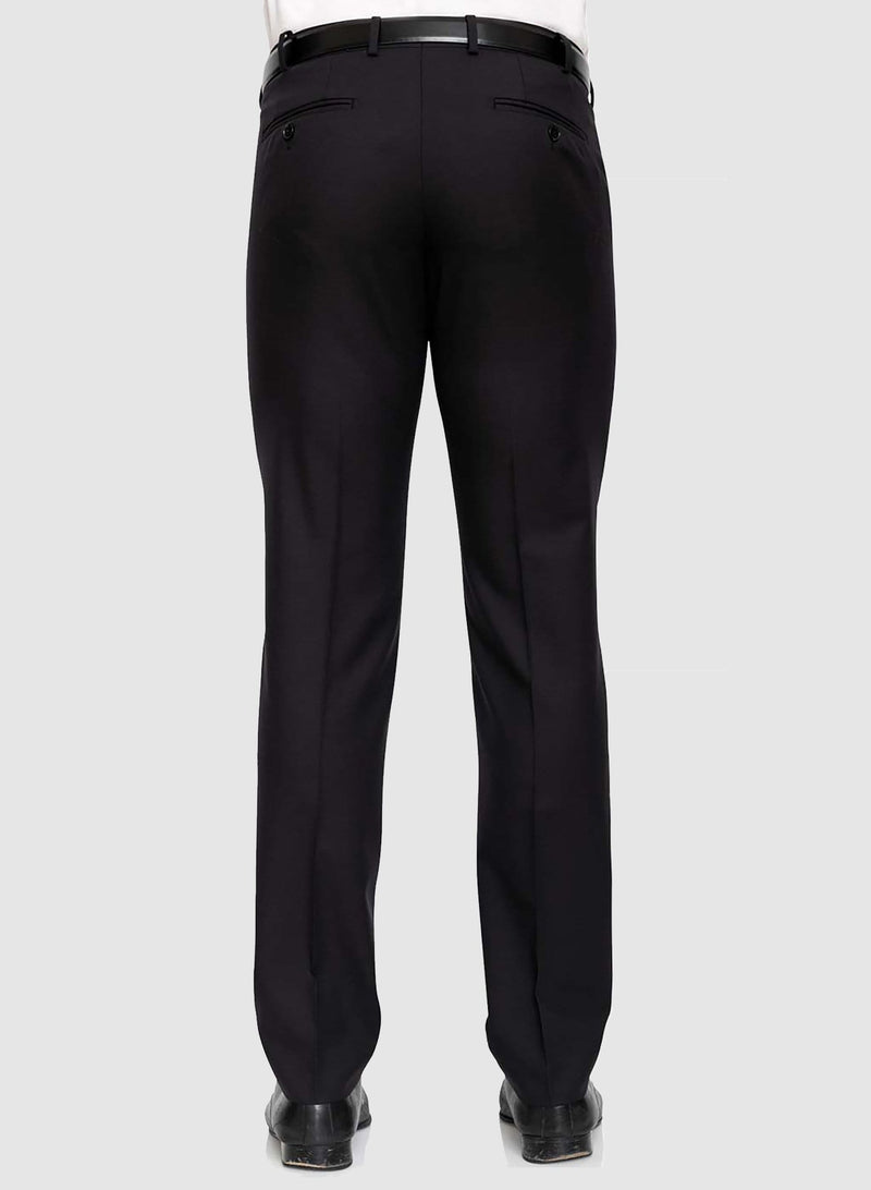 A back view of the Cambridge classic fit interceptor trouser in black pure wool F225