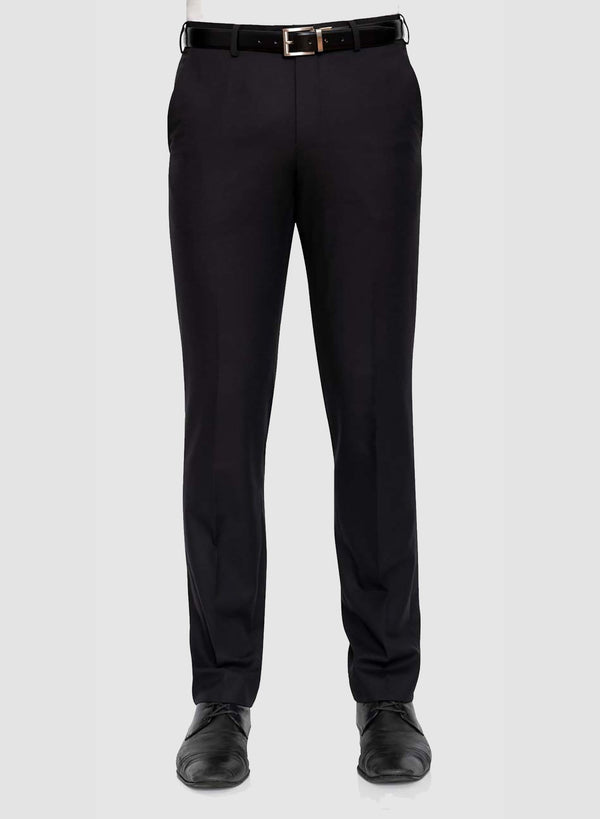 Front view of a model wearing the Cambridge classic fit interceptor trouser in black pure wool F225