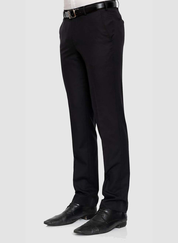 A side view of a model wearing Cambridge classic fit interceptor trouser in black pure wool F225