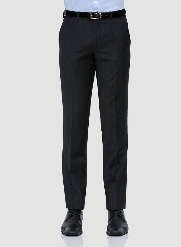 A front on view of the Cambridge classic fit interceptor trouser in charcoal pure wool FCF302 showing the flat front and side slant pocket details