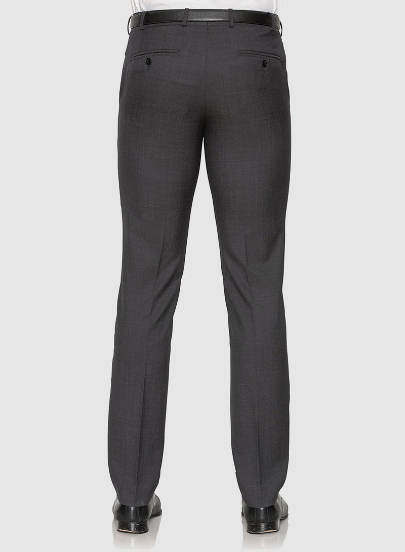a back view of the cambridge classic fit interceptor trouser in charcoal pure wool F2800