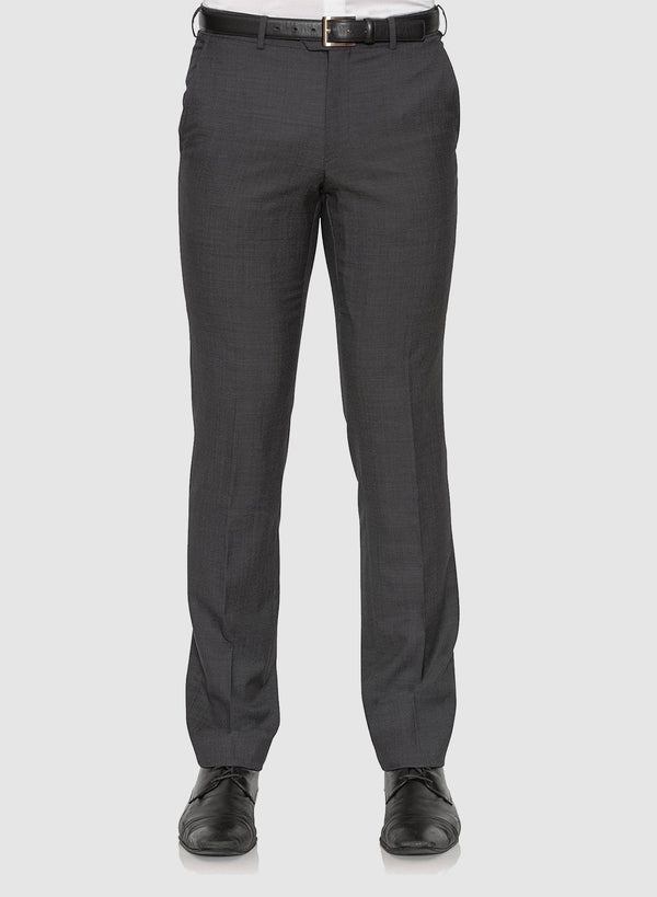 Front view of the cambridge classic fit interceptor trouser in charcoal pure wool F2800