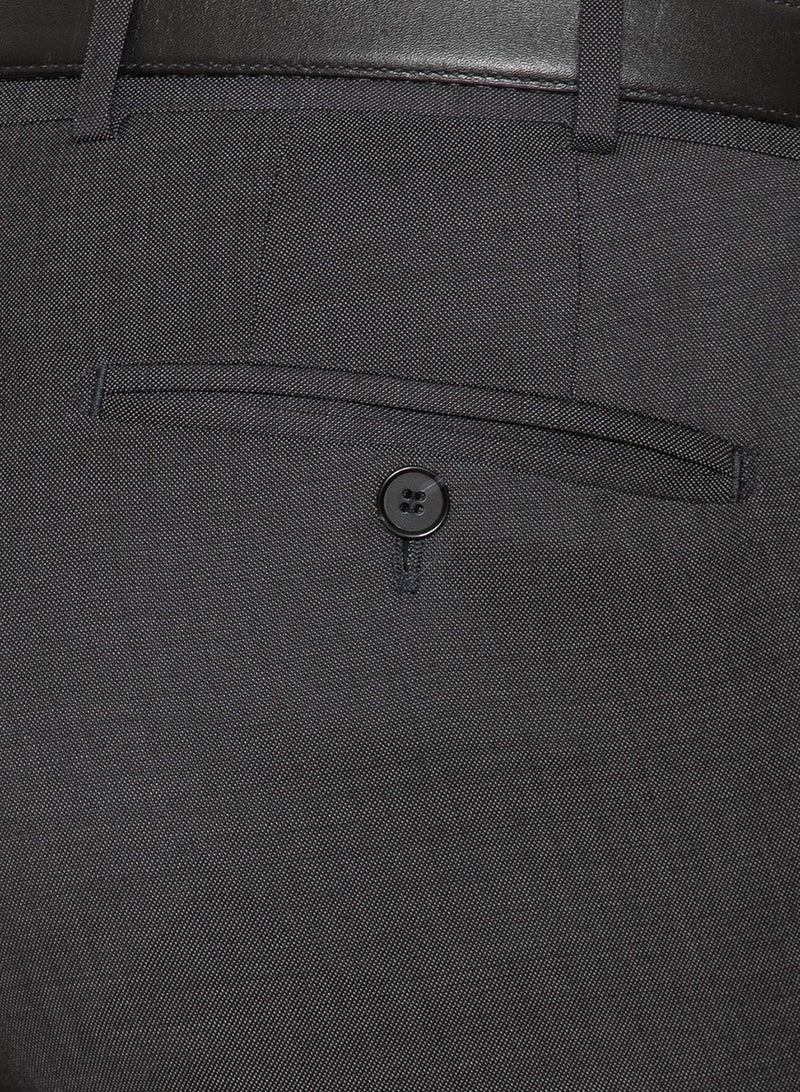 a close up view of the back pocket detail on the cambridge classic fit interceptor trouser in charcoal pure wool F2800