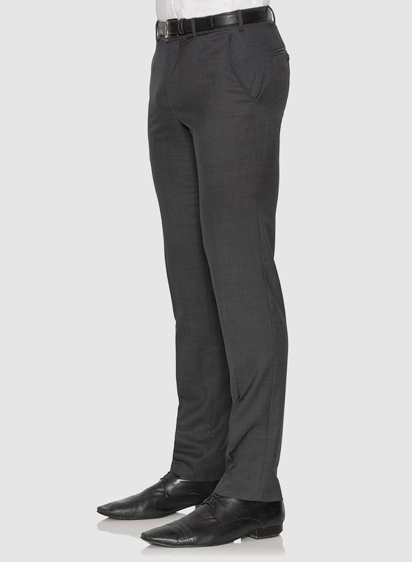 A side view of the cambridge classic fit interceptor trouser in charcoal pure wool F2800