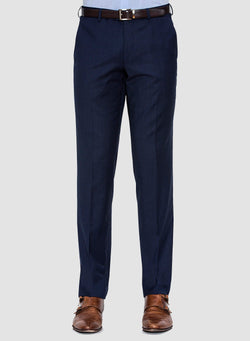 a front view of the Cambridge classic fit interceptor trouser in navy pure wool FCF302, with a flat front and side slant pockets