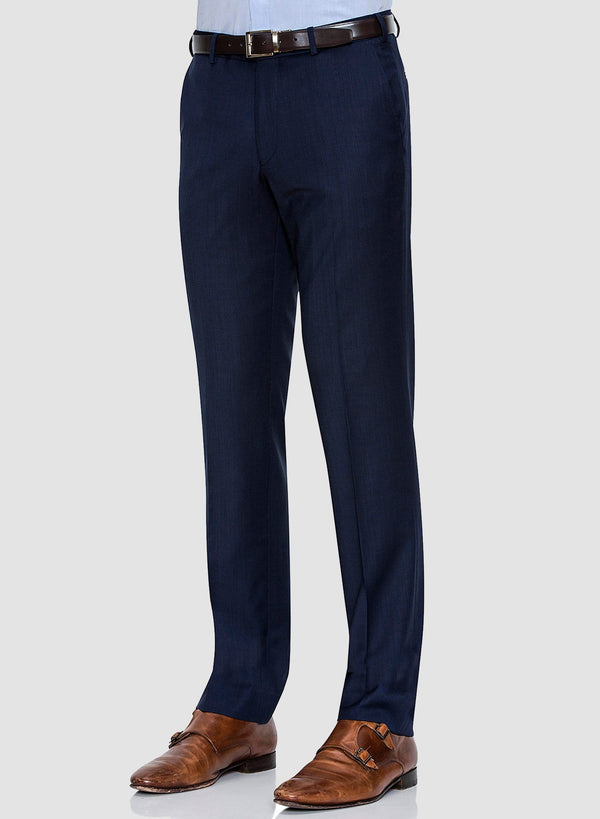 A side view of the Cambridge classic fit interceptor trouser in navy pure wool FCF302