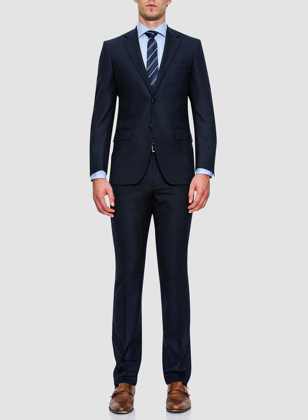 a full view of a model wearing the cambridge classic fit morse suit in blue pure wool FCC076