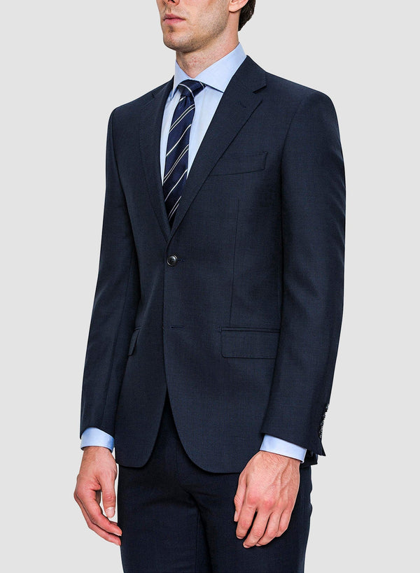 a close up side view of the jacket from the Cambridge classic fit morse suit in blue pure wool FCC076