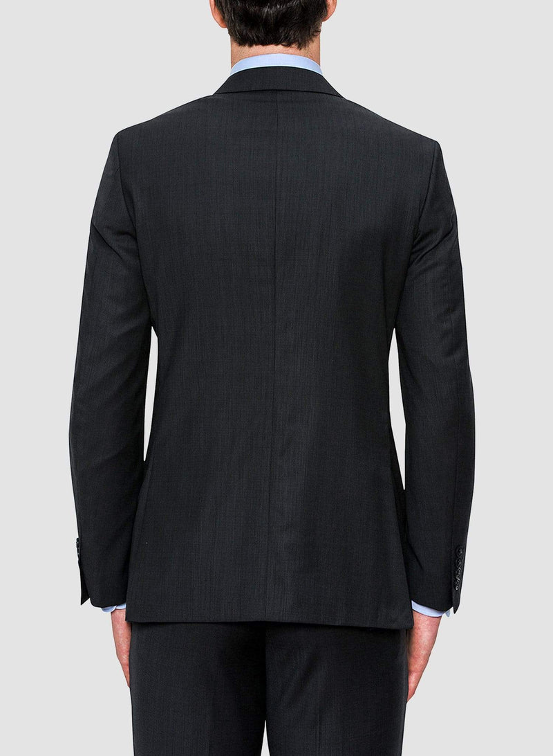 The back view of the jacket detailing from the Cambridge classic fit morse suit in charcoal pure wool FCF302
