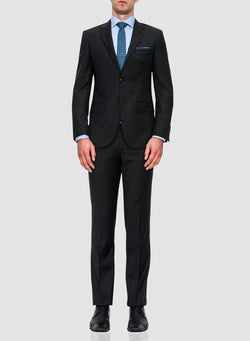 A full length view of the Cambridge classic fit morse suit in charcoal pure wool FCF302 styled with a blue shirt and blue printed tie