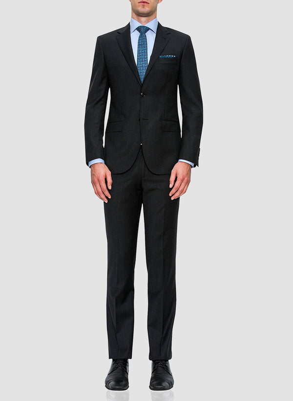 A full length image of the Cambridge classic fit interceptor trouser in charcoal pure wool FCF302 showing it styled in the range suit