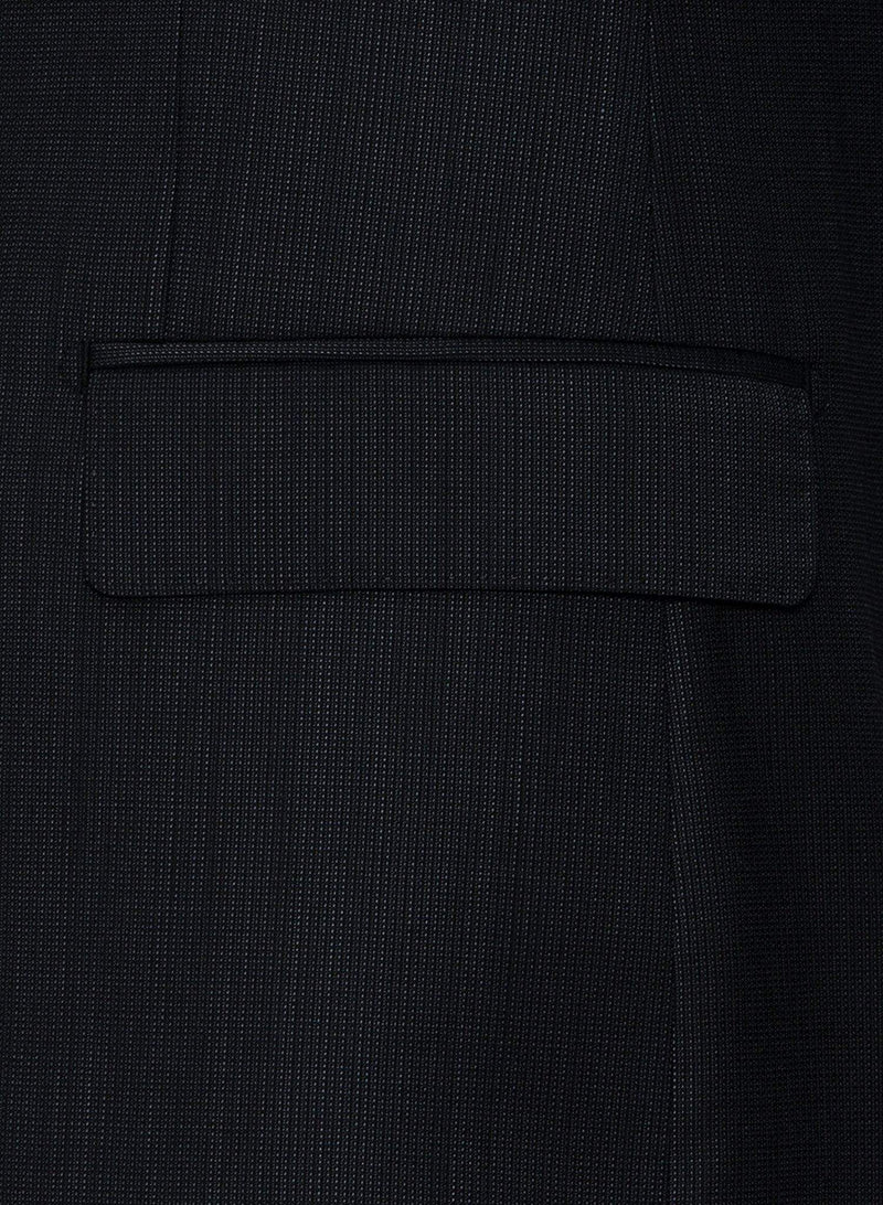 A close up view of the jacket straight flap pockets of the Cambridge classic fit morse suit in charcoal pure wool FCF302