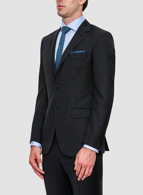 A side view of the jacket details on the Cambridge classic fit morse suit in charcoal pure wool FCF302