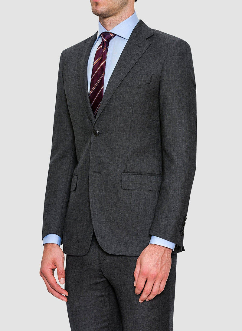 A closer view of a model wearing the Cambridge classic fit morse suit in grey pure wool FCC076