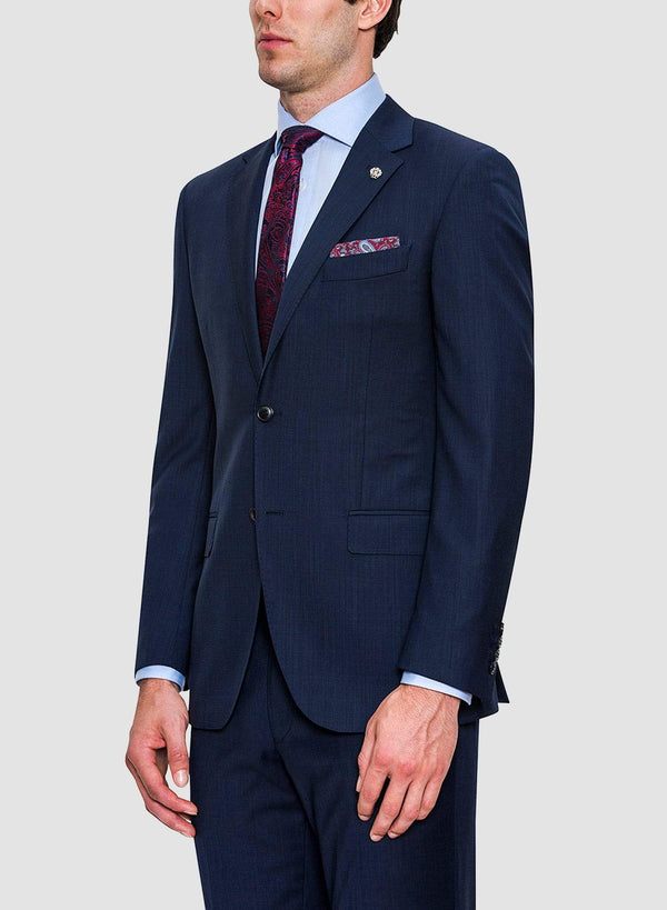 A side view of the Cambridge classic fit morse suit in navy pure wool FCF302 styled with a blue shirt and a printed tie